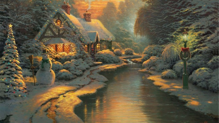 winter-christmas-eve-snowman-painting-lantern-nature-beautiful-snow-noel-river-lights-house-night-art-wallpaper-windows-7